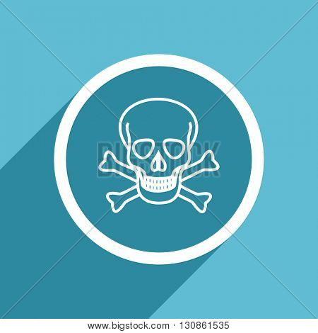 skull icon, flat design blue icon, web and mobile app design illustration