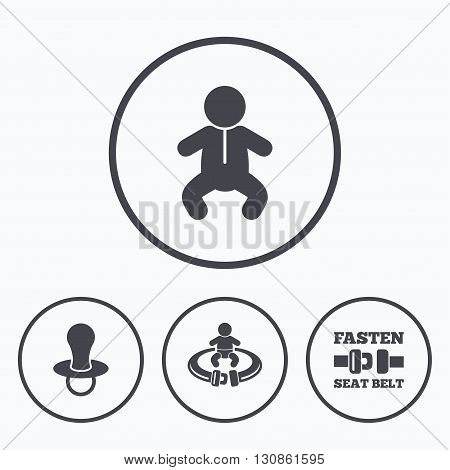 Baby infants icons. Toddler boy with diapers symbol. Fasten seat belt signs. Child pacifier and pram stroller. Icons in circles.