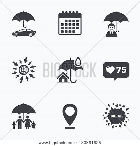 Calendar, like counter and go to web icons. Family, Real estate or Home insurance icons. Life insurance and umbrella symbols. Car protection sign. Location pointer.