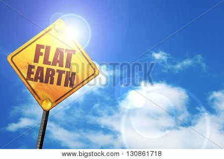 flat earth, 3D rendering, a yellow road sign