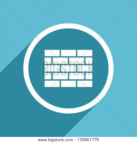 firewall icon, flat design blue icon, web and mobile app design illustration