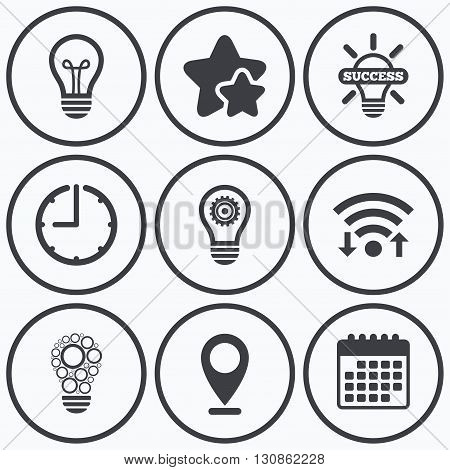 Clock, wifi and stars icons. Light lamp icons. Circles lamp bulb symbols. Energy saving with cogwheel gear. Idea and success sign. Calendar symbol.