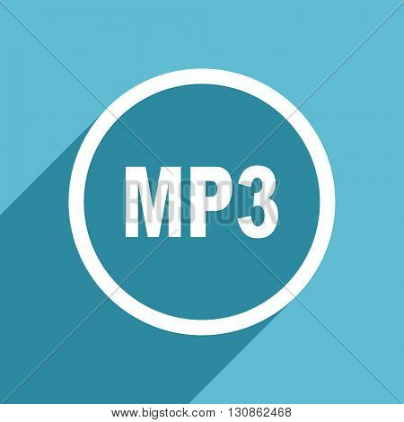 mp3 icon, flat design blue icon, web and mobile app design illustration