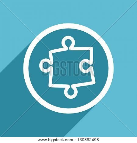 puzzle icon, flat design blue icon, web and mobile app design illustration