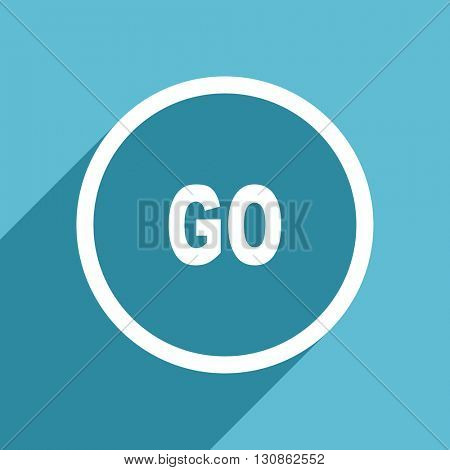 go icon, flat design blue icon, web and mobile app design illustration