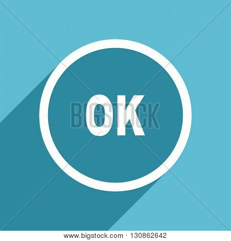 ok icon, flat design blue icon, web and mobile app design illustration