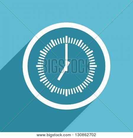 time icon, flat design blue icon, web and mobile app design illustration