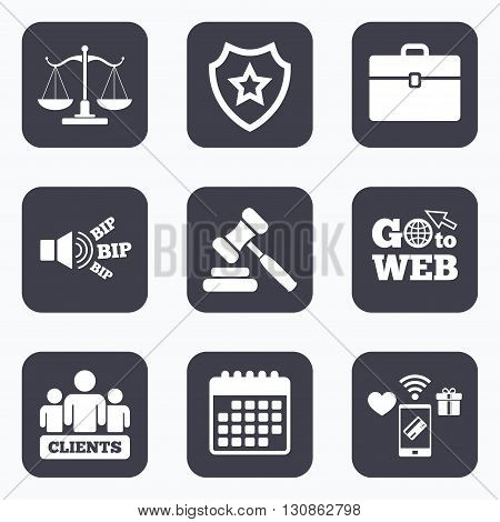 Mobile payments, wifi and calendar icons. Scales of Justice icon. Group of clients symbol. Auction hammer sign. Law judge gavel. Court of law. Go to web symbol.