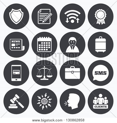Wifi, calendar and mobile payments. Lawyer, scales of justice icons. Clients, auction hammer and law judge symbols. Newspaper, award and agreement document signs. Sms speech bubble, go to web symbols.