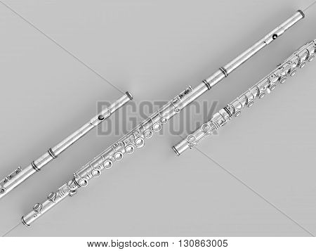 Aged Flute . high quality photo realistic 3d render