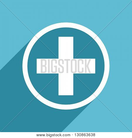 plus icon, flat design blue icon, web and mobile app design illustration