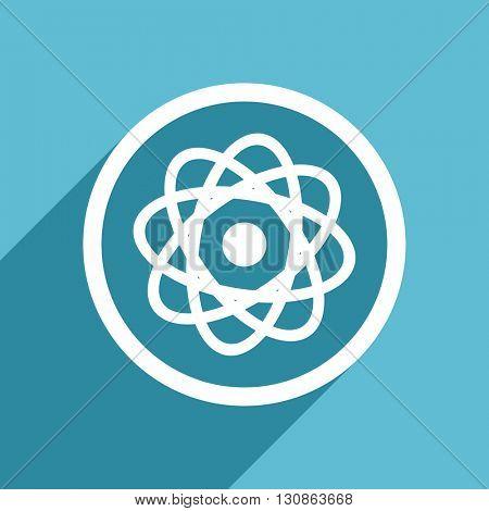 atom icon, flat design blue icon, web and mobile app design illustration