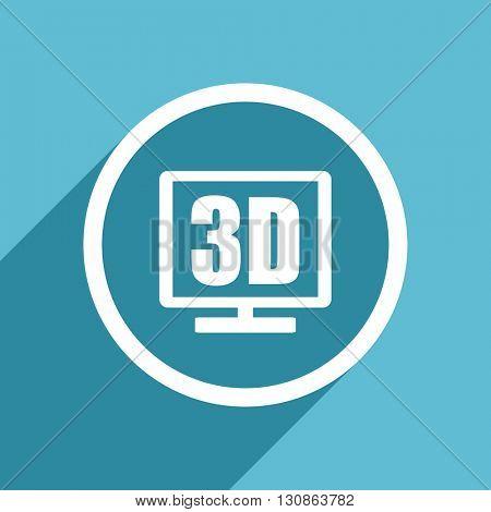 3d display icon, flat design blue icon, web and mobile app design illustration