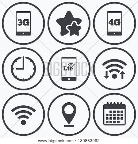 Clock, wifi and stars icons. Mobile telecommunications icons. 3G, 4G and LTE technology symbols. Wi-fi Wireless and Long-Term evolution signs. Calendar symbol.