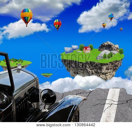 Vintage car on the edge of the abyss before flying Islands and balloons in the cloudy sky