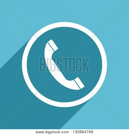 phone icon, flat design blue icon, web and mobile app design illustration