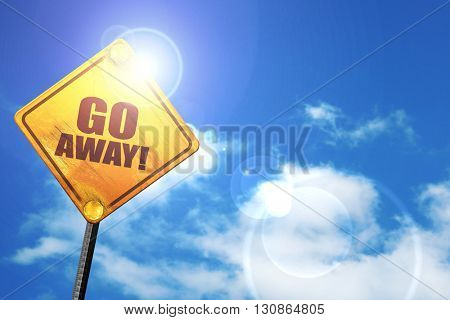 go away, 3D rendering, a yellow road sign
