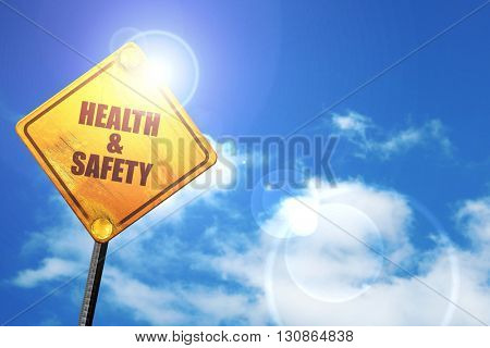 health , 3D rendering, a yellow road sign