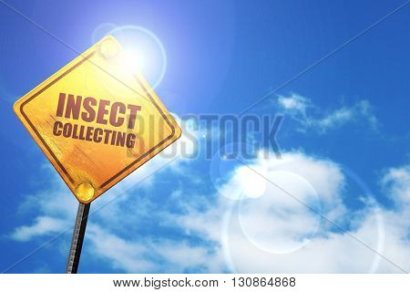 insect collecting, 3D rendering, a yellow road sign