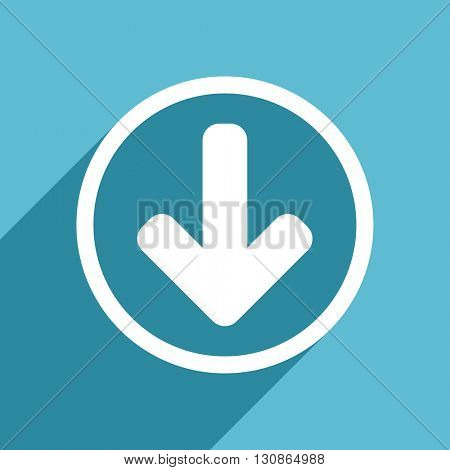 download arrow icon, flat design blue icon, web and mobile app design illustration