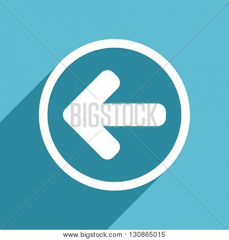 left arrow icon, flat design blue icon, web and mobile app design illustration