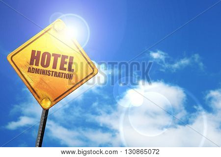 hotel administration, 3D rendering, a yellow road sign
