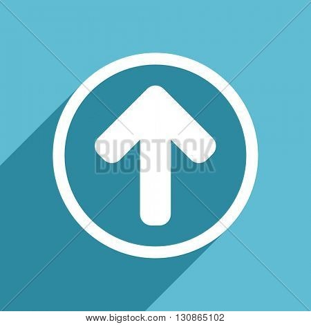 up arrow icon, flat design blue icon, web and mobile app design illustration