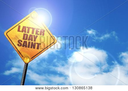 latter day saint, 3D rendering, a yellow road sign
