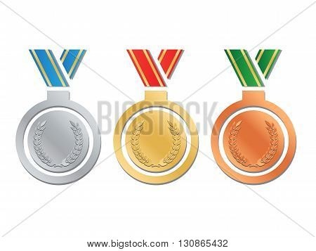 Medals set of gold silver and bronze award eps10