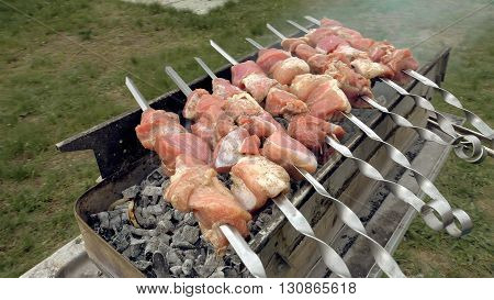 Barbeque skewers with meat cooking on hot coal ember brazier Outdoors picnic concept.