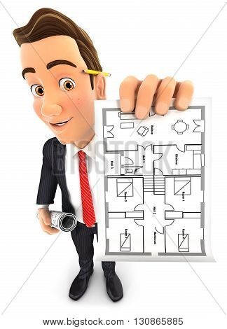 3d businessman holding house plan , illustration with isolated white background