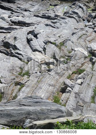 Close-up of Maine's unique coastline of folded, layered, textured  rock with steep ledges