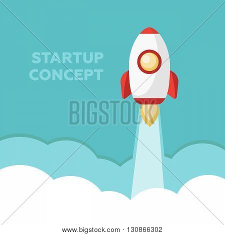 Start Up. Rocket ship. Flat design modern vector illustration concept of new business project start up eps10