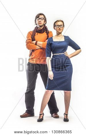 photo of young people in glasses. Isolated on white. Full length.