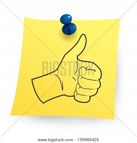 Vector illustration of thumb up image printed on sticky note paper isolated on white