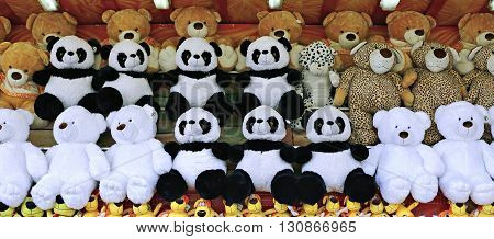 MOSCOW, RUSSIA - MAY 7, 2016: Many soft toys teddy bears on the counter