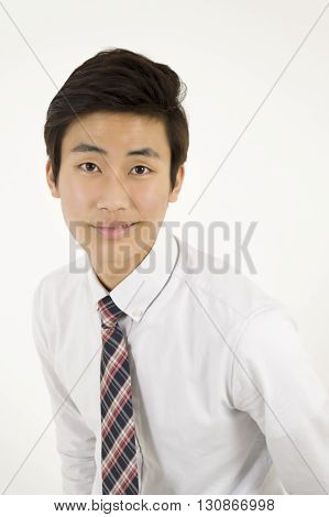 Asian businessman with white shirt isolated on white background