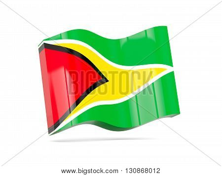Wave Icon With Flag Of Guyana