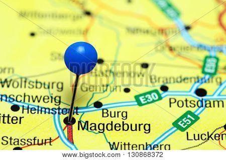 Magdeburg pinned on a map of Germany