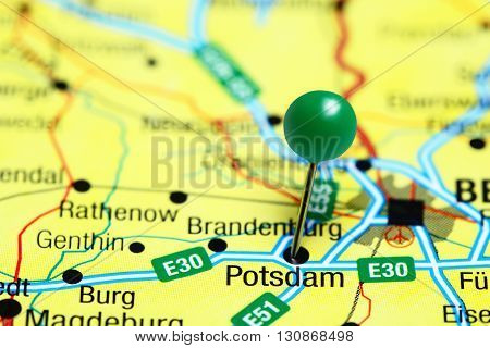 Potsdam pinned on a map of Germany