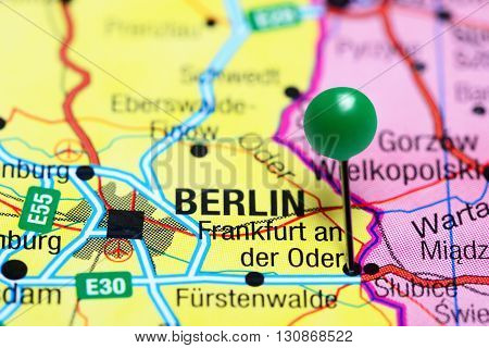 Frankfurt an der Oder pinned on a map of Germany