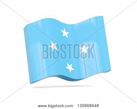 Wave Icon With Flag Of Micronesia