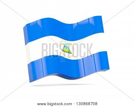 Wave Icon With Flag Of Nicaragua
