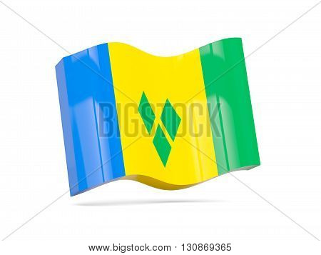 Wave Icon With Flag Of Saint Vincent And The Grenadines