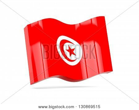 Wave Icon With Flag Of Tunisia