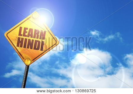 learn hindi, 3D rendering, a yellow road sign