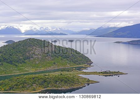 Murray Channel on Wulaia Bay in Morning Light in Tierra del Fuego in Chile