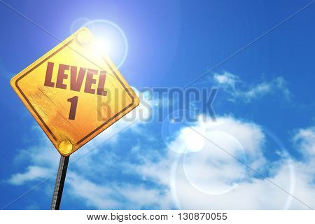 level 1, 3D rendering, a yellow road sign