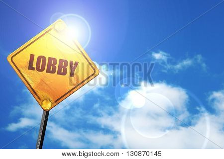 lobby, 3D rendering, a yellow road sign