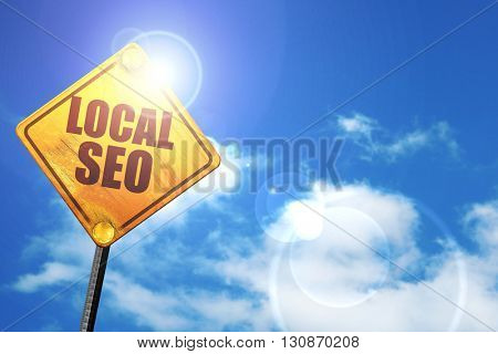 local seo, 3D rendering, a yellow road sign